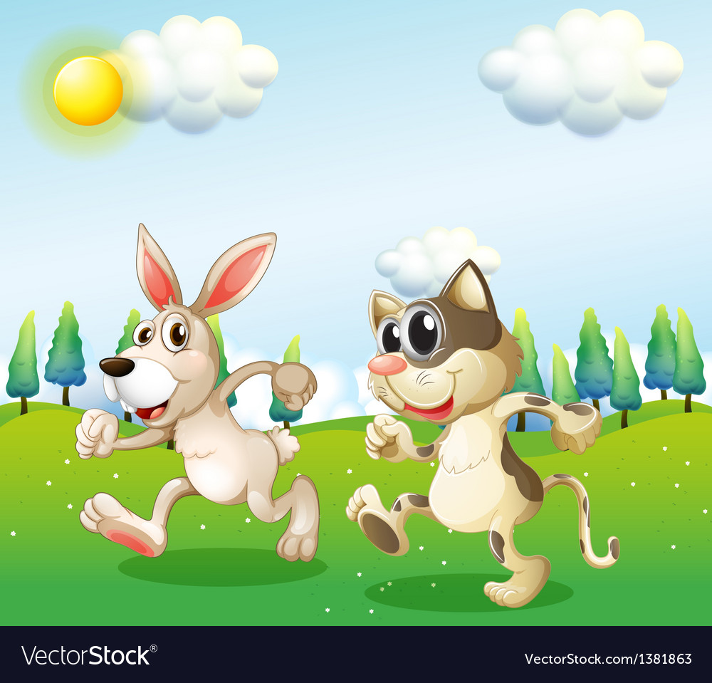 A bunny and a cat running vector | Price: 1 Credit (USD $1)