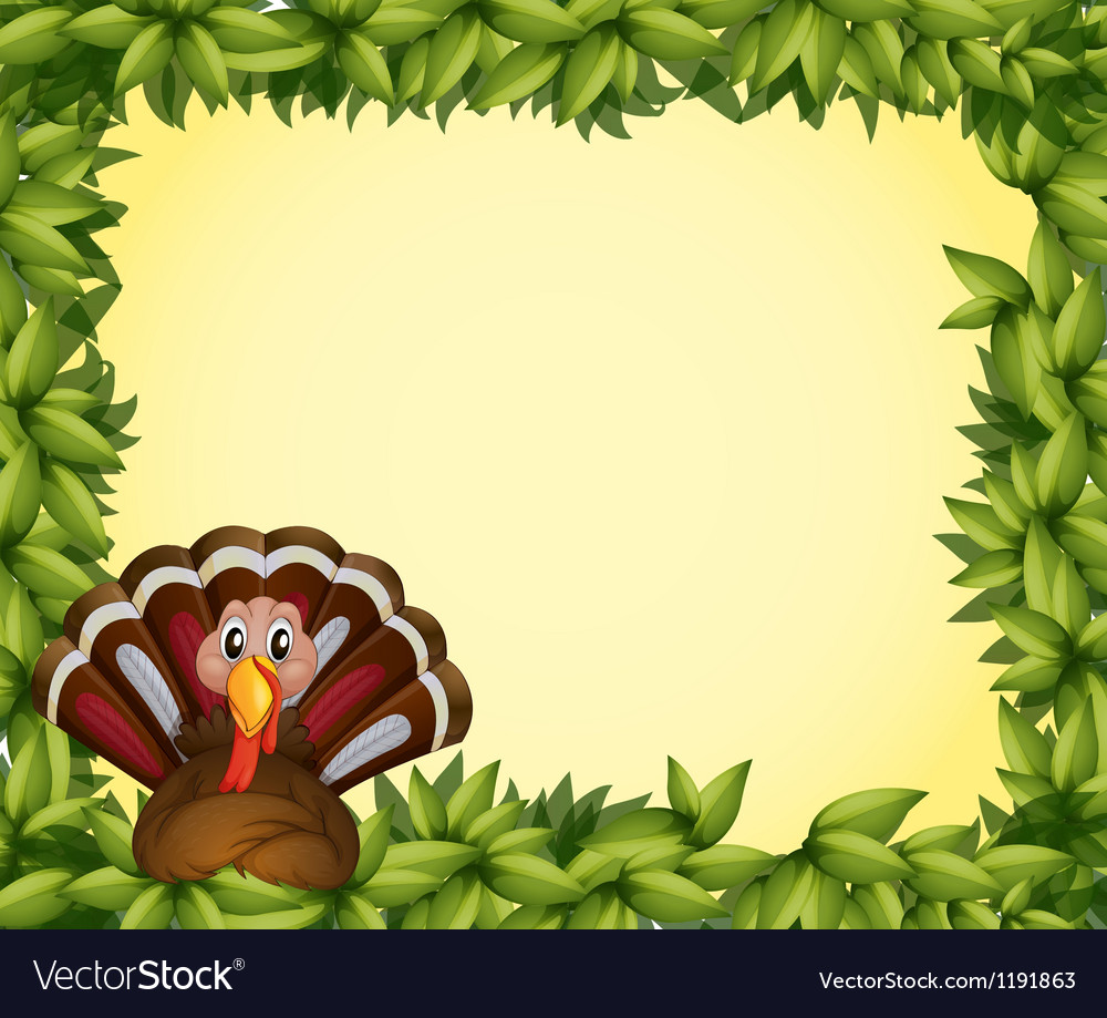 A turkey in a leafy frame border vector | Price: 1 Credit (USD $1)