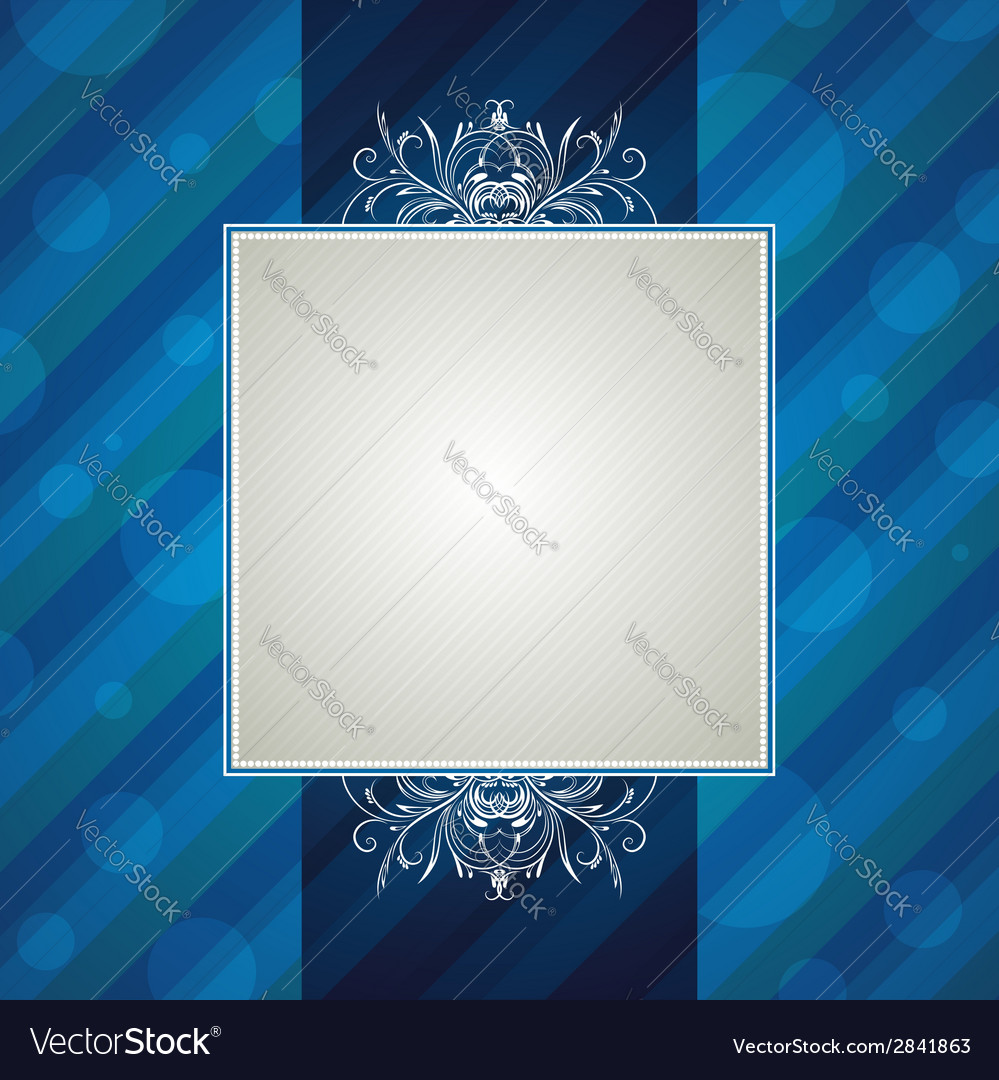Blue striped background with decorative ornaments vector | Price: 1 Credit (USD $1)