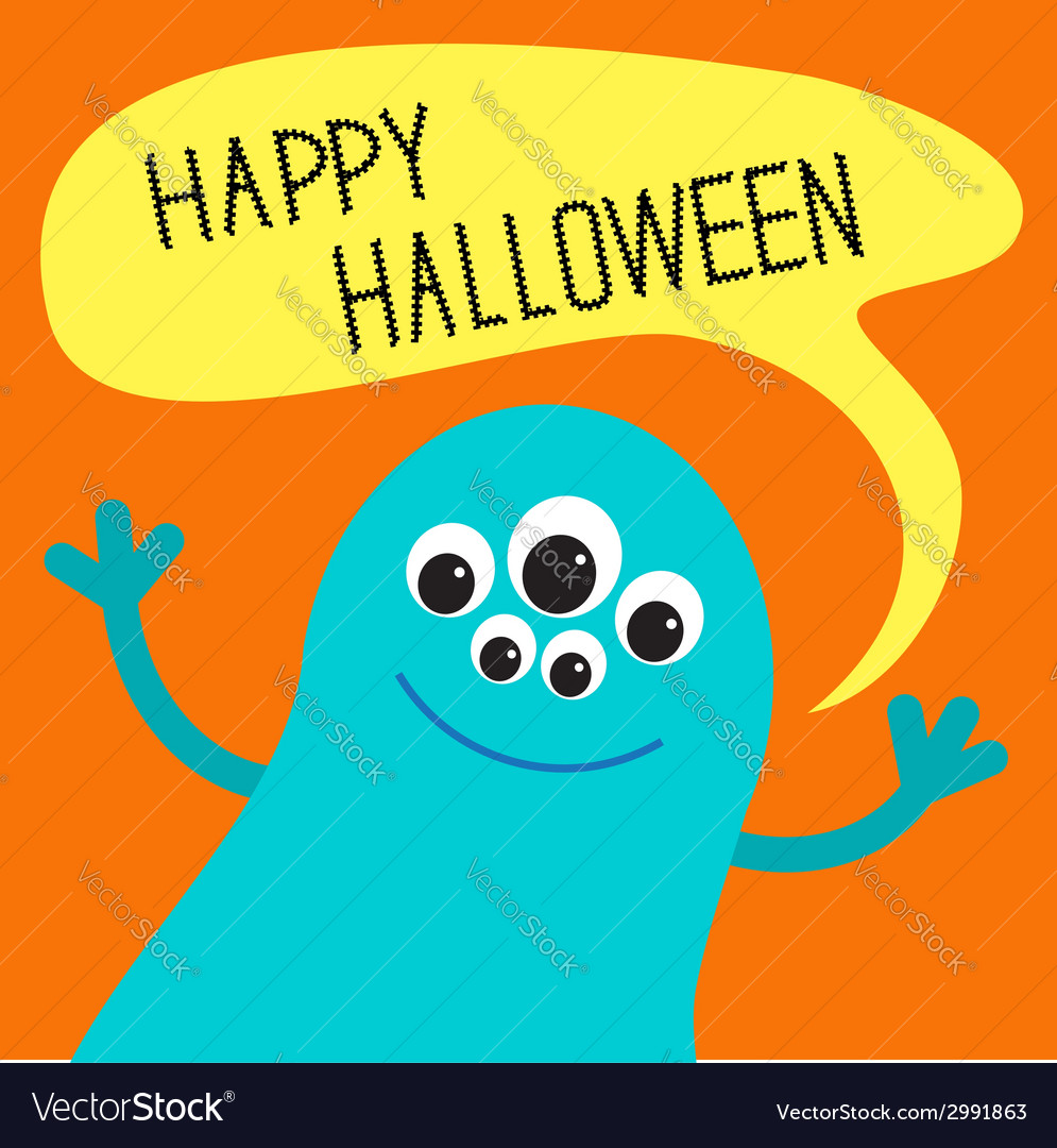Cute blue monster with speech text bubble vector | Price: 1 Credit (USD $1)