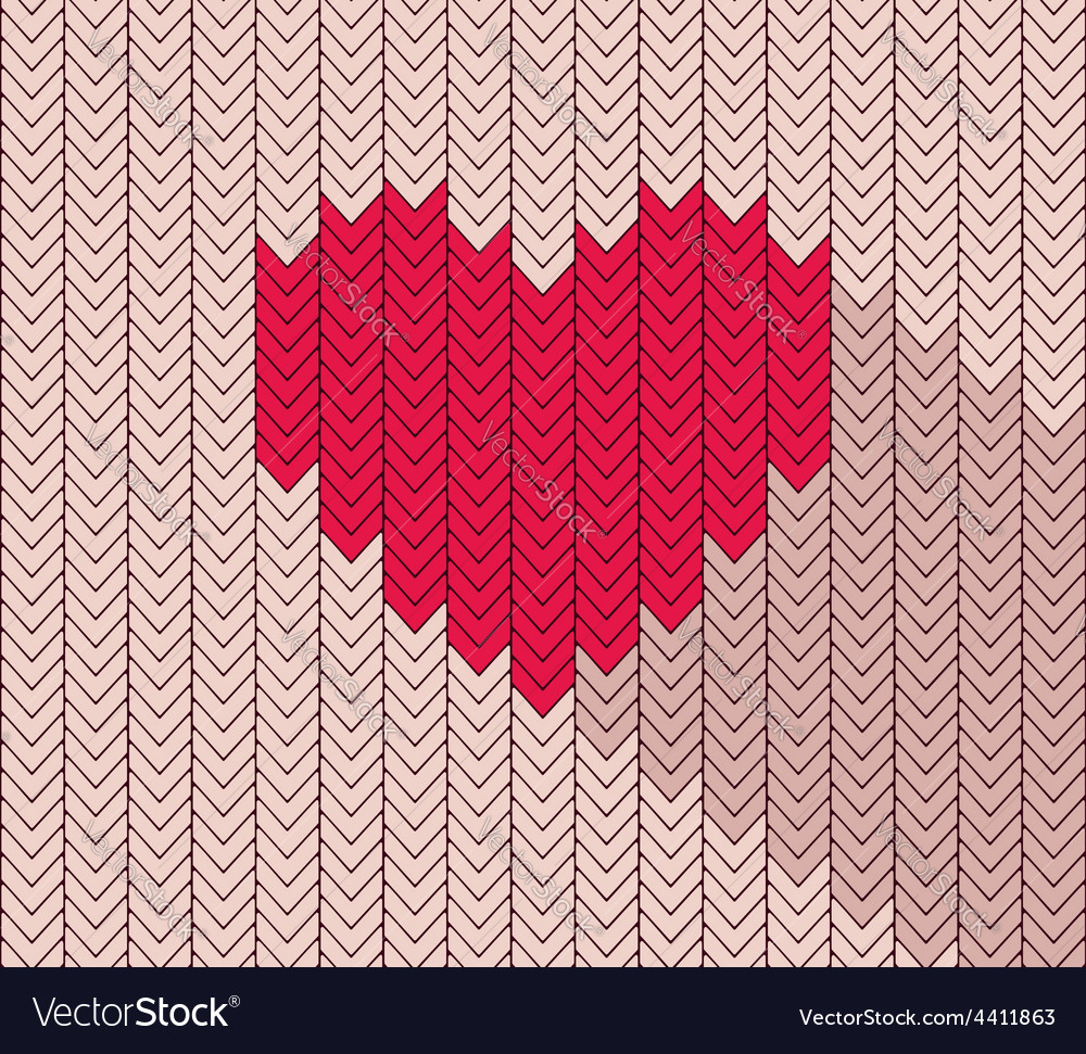 Flat heart icon in herringbone pattern vector | Price: 1 Credit (USD $1)