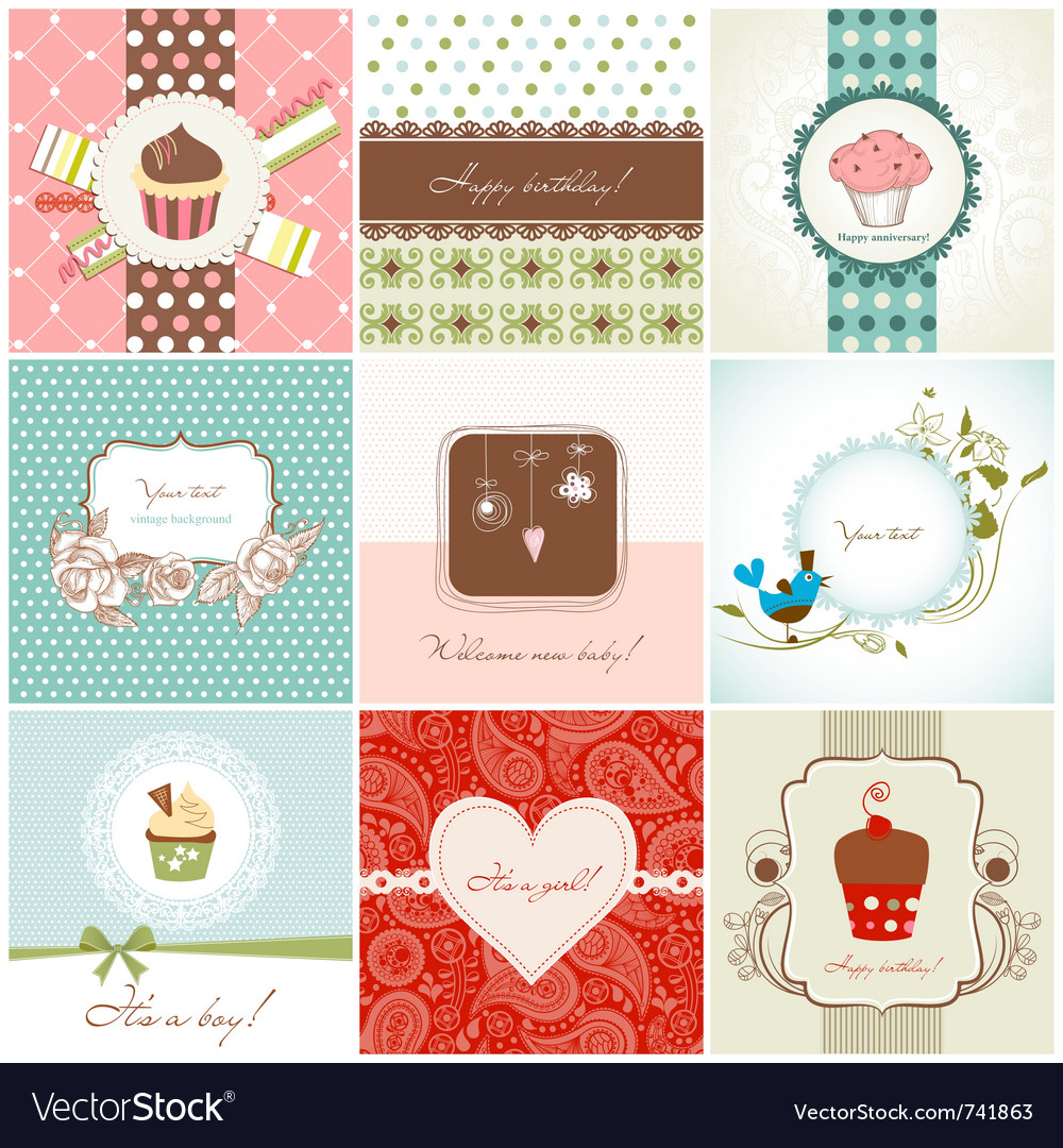 Greeting cards and cupcakes set vector | Price: 1 Credit (USD $1)