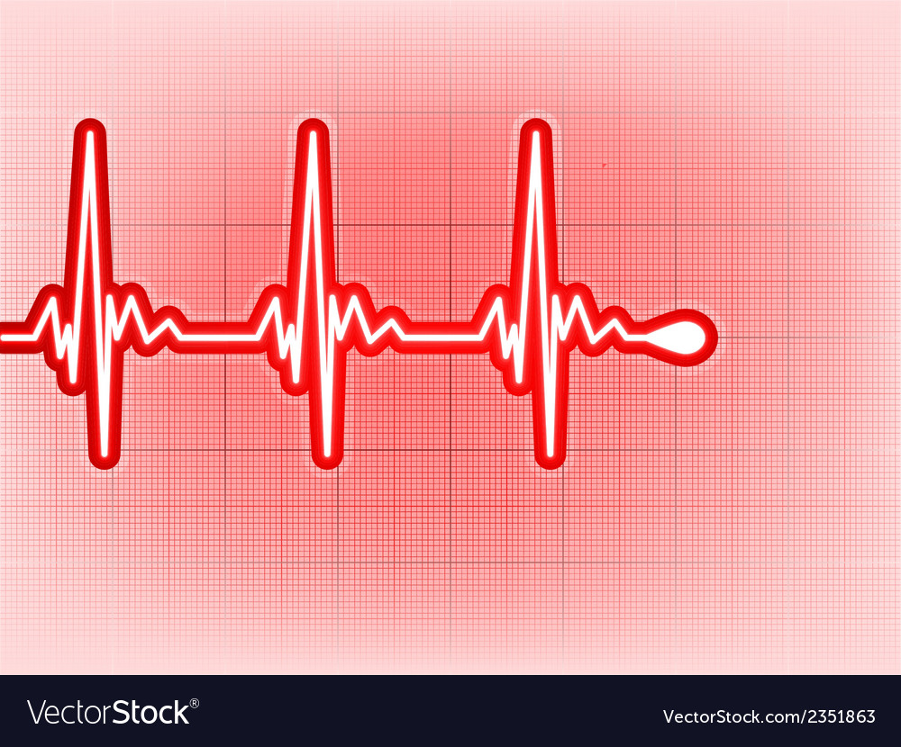 Heart cardiogram with shadow on it deep red eps 8 vector | Price: 1 Credit (USD $1)