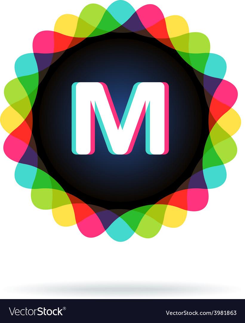 Retro bright colors logotype letter m vector | Price: 1 Credit (USD $1)