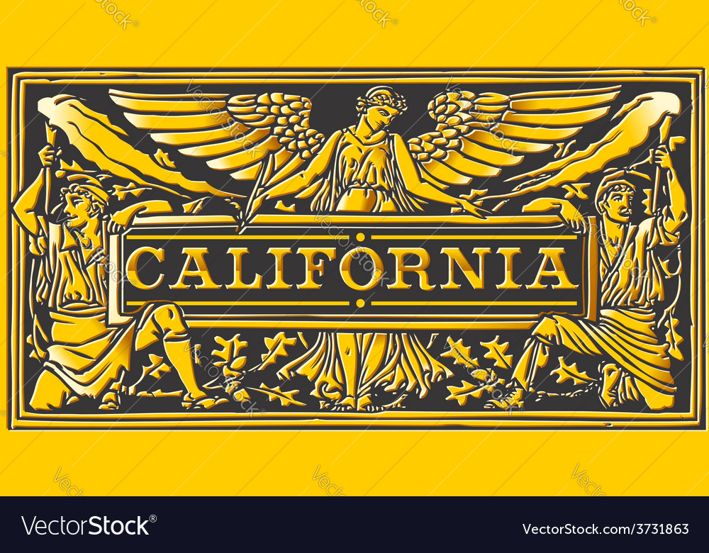 Vintage california label plaque black and gold vector | Price: 3 Credit (USD $3)