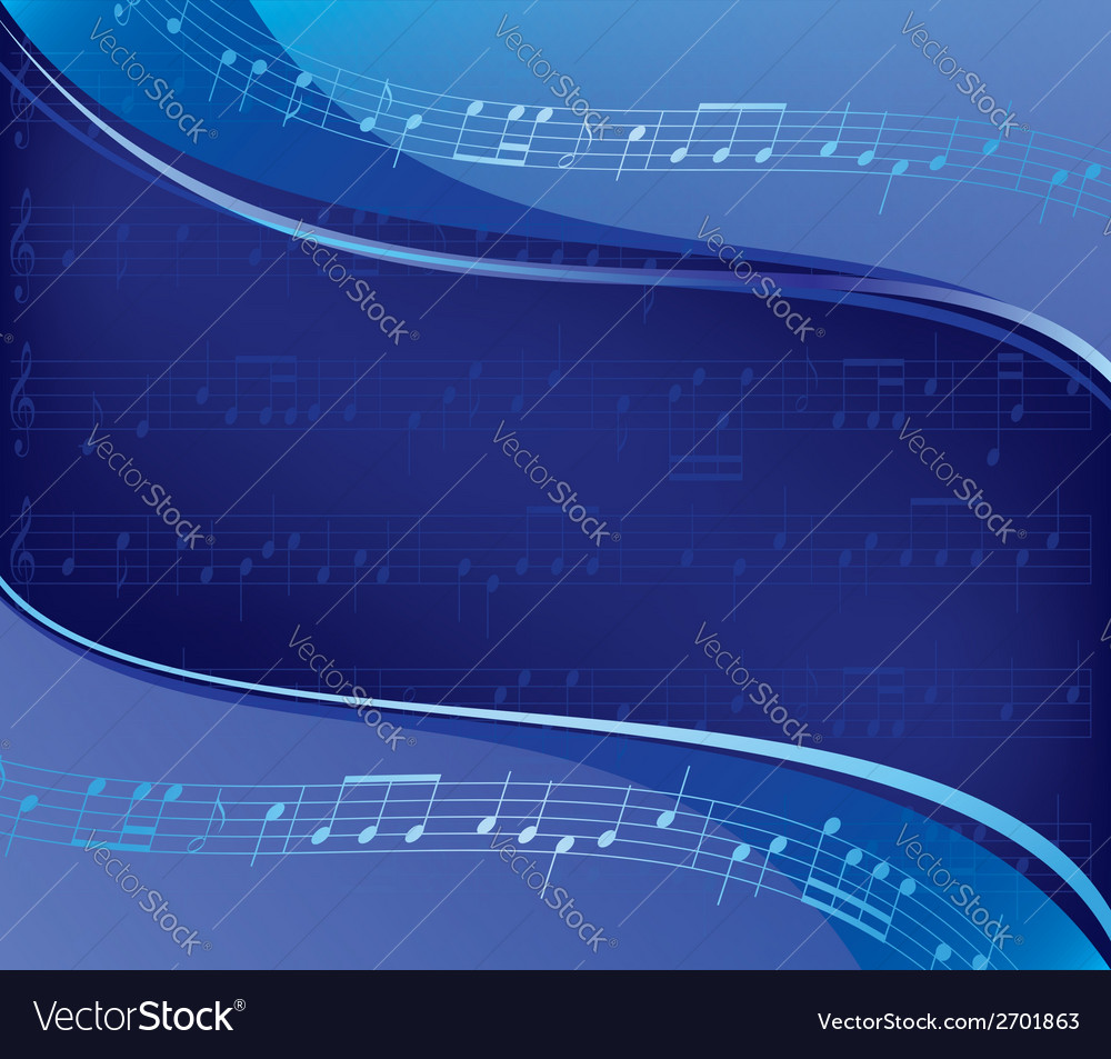 Wavy blue background - musical design vector | Price: 1 Credit (USD $1)