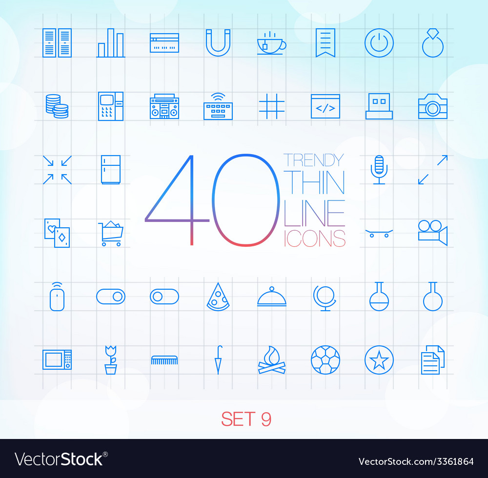 40 trendy thin icons for web and mobile set 9 vector | Price: 1 Credit (USD $1)