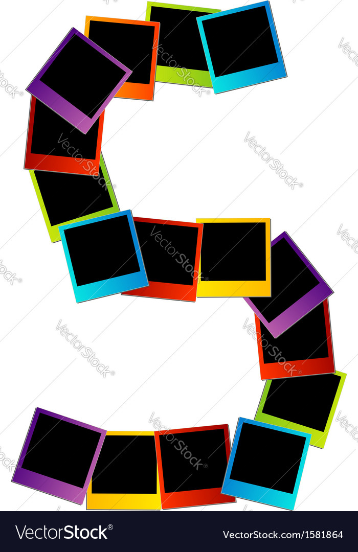 Alphabet s with colorful polaroids vector | Price: 1 Credit (USD $1)