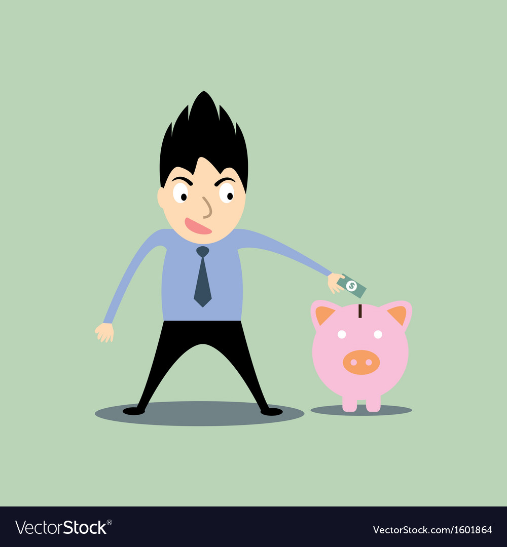 Business man putting money in the pig vector | Price: 1 Credit (USD $1)
