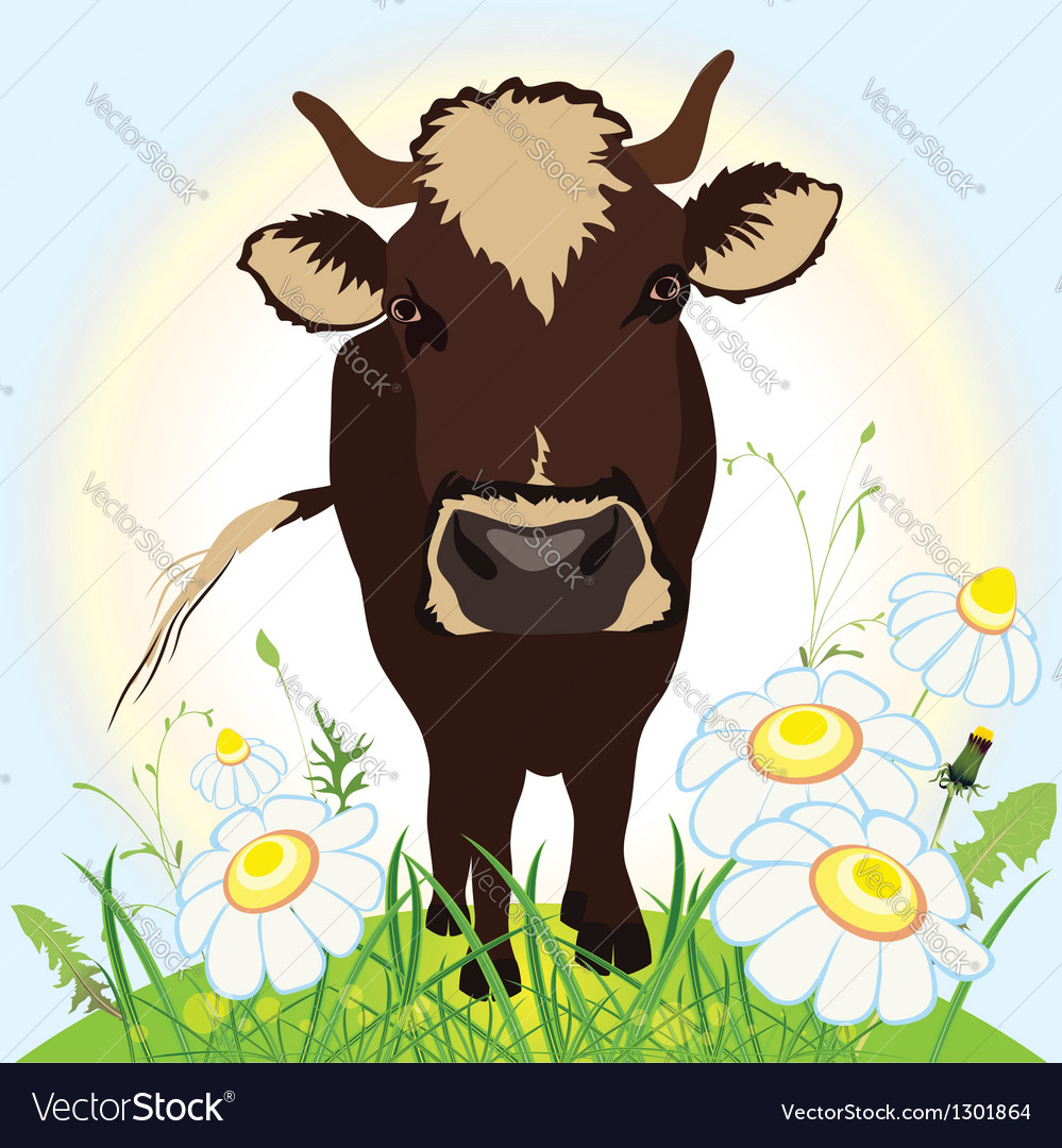 Cow on green field grass and flowers vector | Price: 1 Credit (USD $1)