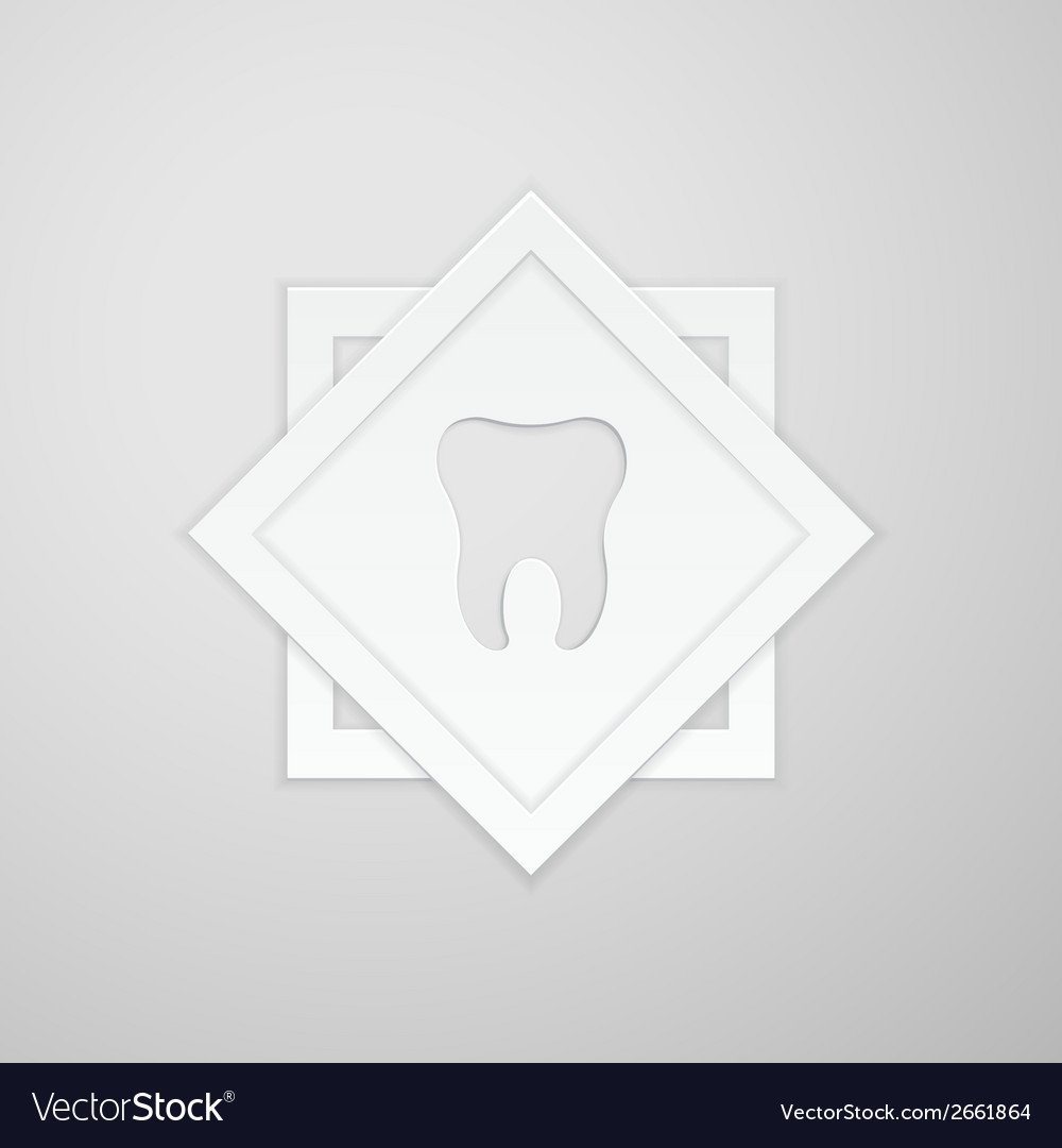 Emblem human tooth on two square vector | Price: 1 Credit (USD $1)