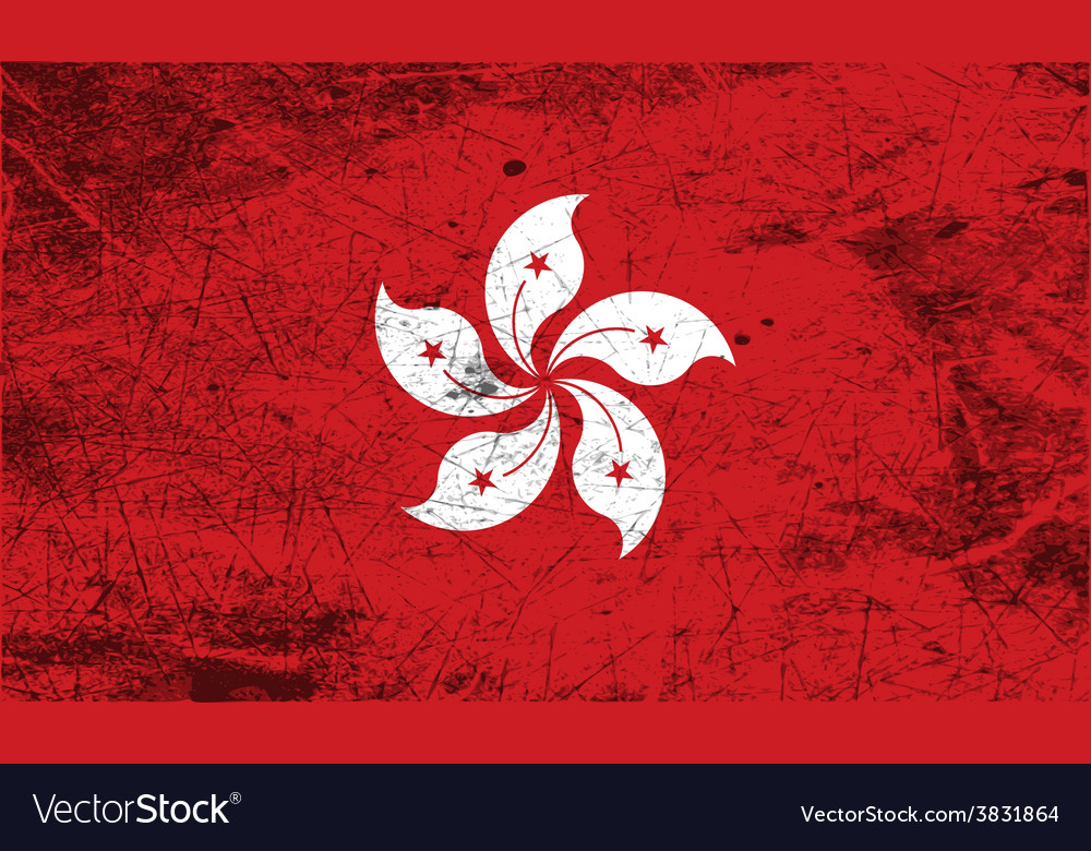 Flag of hong kong with old texture vector | Price: 1 Credit (USD $1)