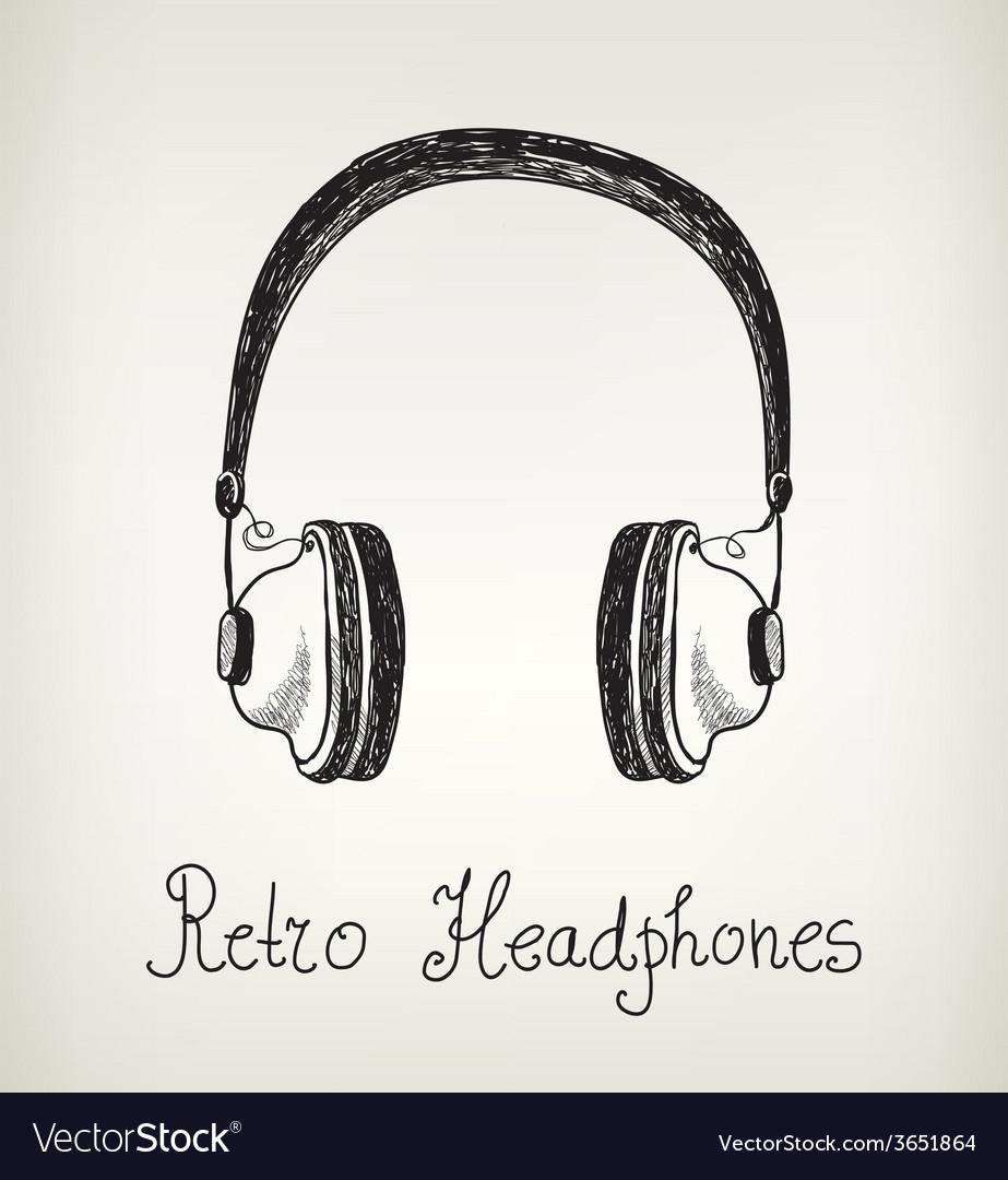 Hand drawn retro headphones earphones isolated vector | Price: 1 Credit (USD $1)
