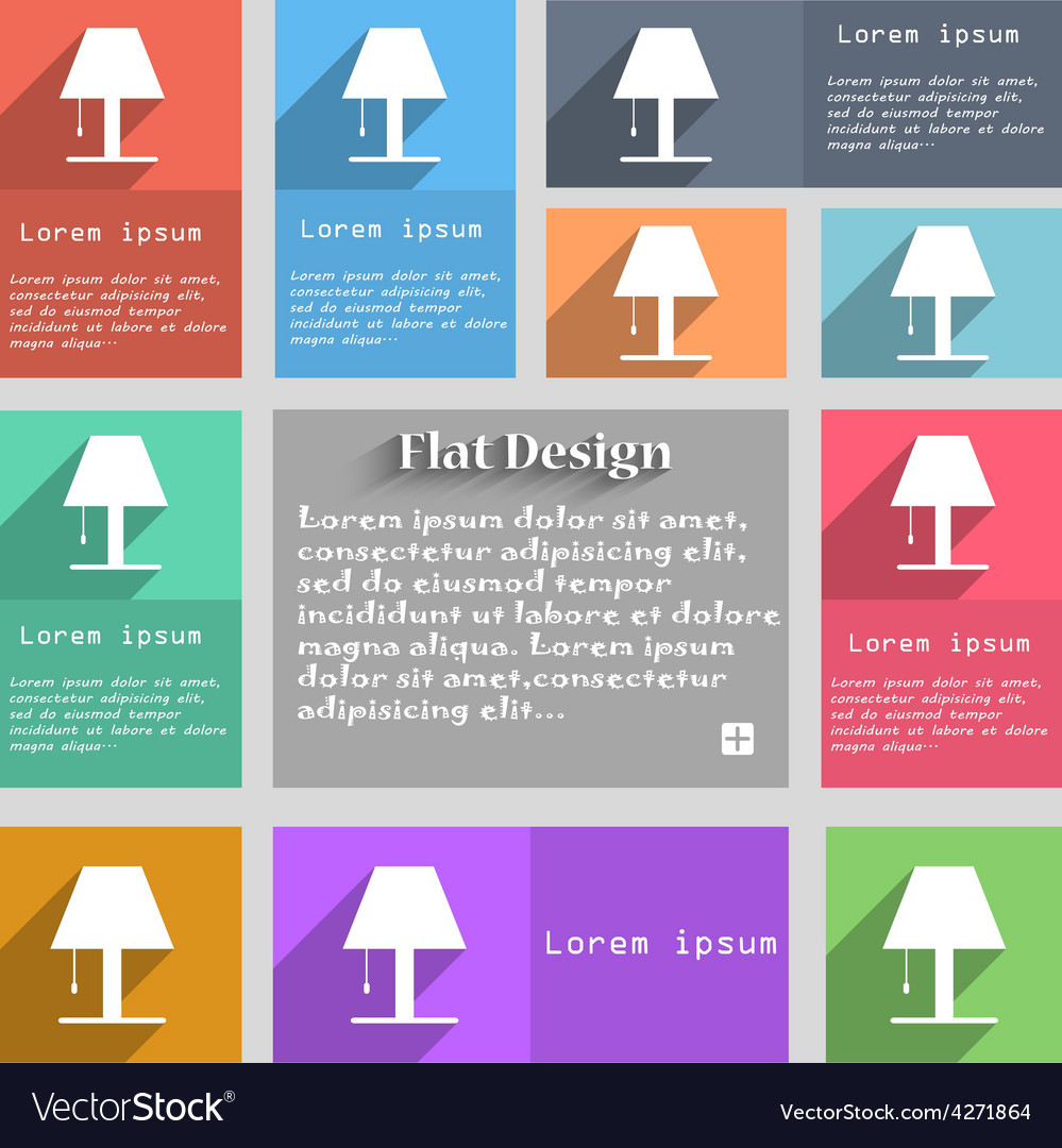 Lamp icon sign set of multicolored buttons metro vector   Price: 1 Credit (USD $1)