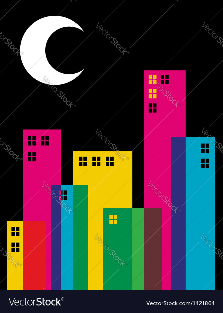 Multicolored transparency night city vector | Price: 1 Credit (USD $1)