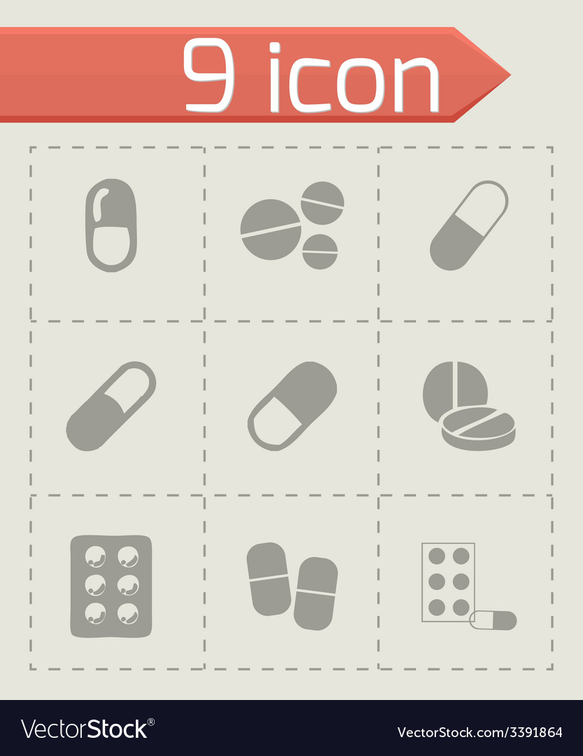 Pills icons set vector | Price: 1 Credit (USD $1)