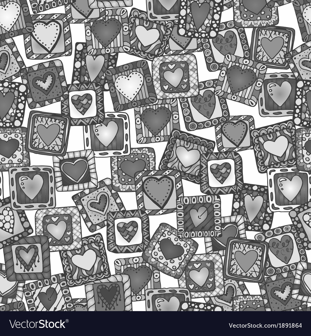 Seamless pattern of original drawing doodle hearts vector | Price: 1 Credit (USD $1)