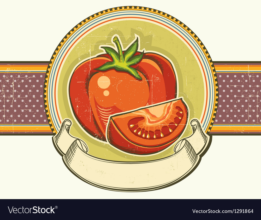 Vintage red tomatos label on old paper background vector | Price: 1 Credit (USD $1)