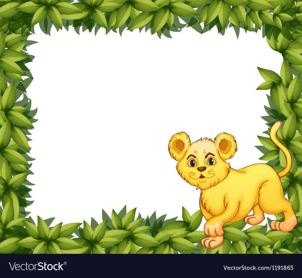 A young tiger in a blank leafy signage vector | Price: 1 Credit (USD $1)