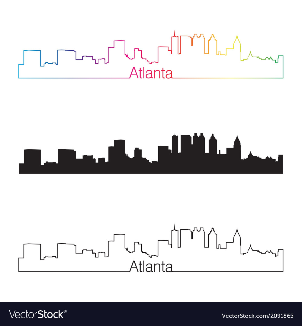Atlanta skyline linear style with rainbow vector | Price: 1 Credit (USD $1)