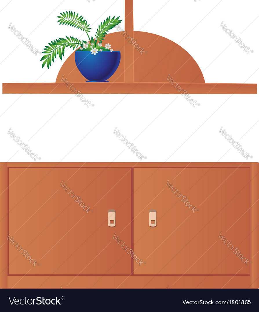 Cupboard and shelf flowerpot isolated on white vector | Price: 1 Credit (USD $1)