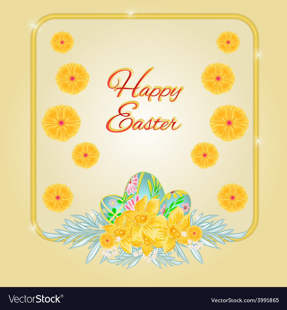 Frame easter eggs and daffodils place for text vector | Price: 1 Credit (USD $1)