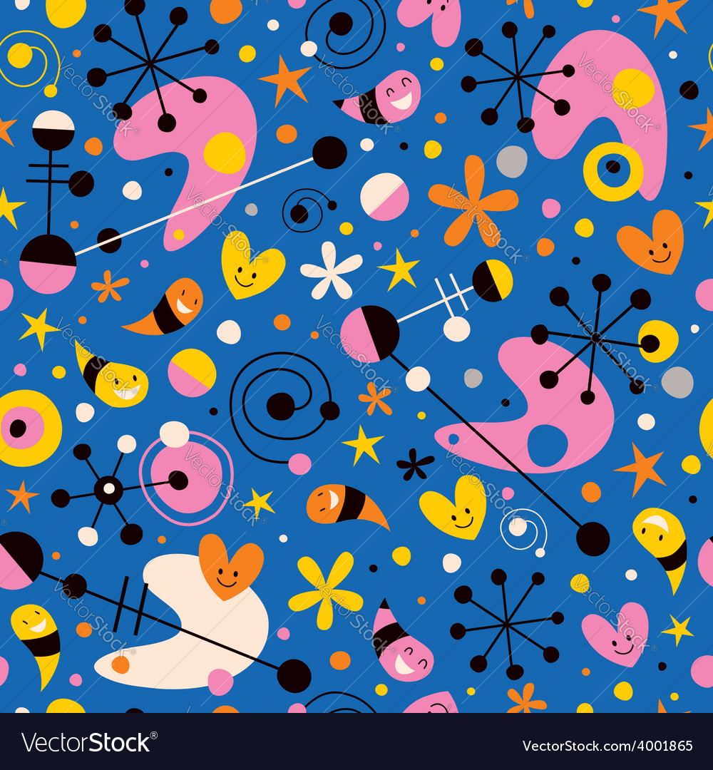 Funky cartoon retro pattern vector | Price: 1 Credit (USD $1)