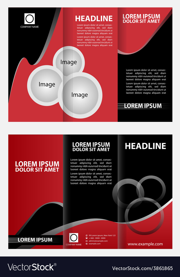 Modern tri-fold brochure design template with red vector | Price: 1 Credit (USD $1)