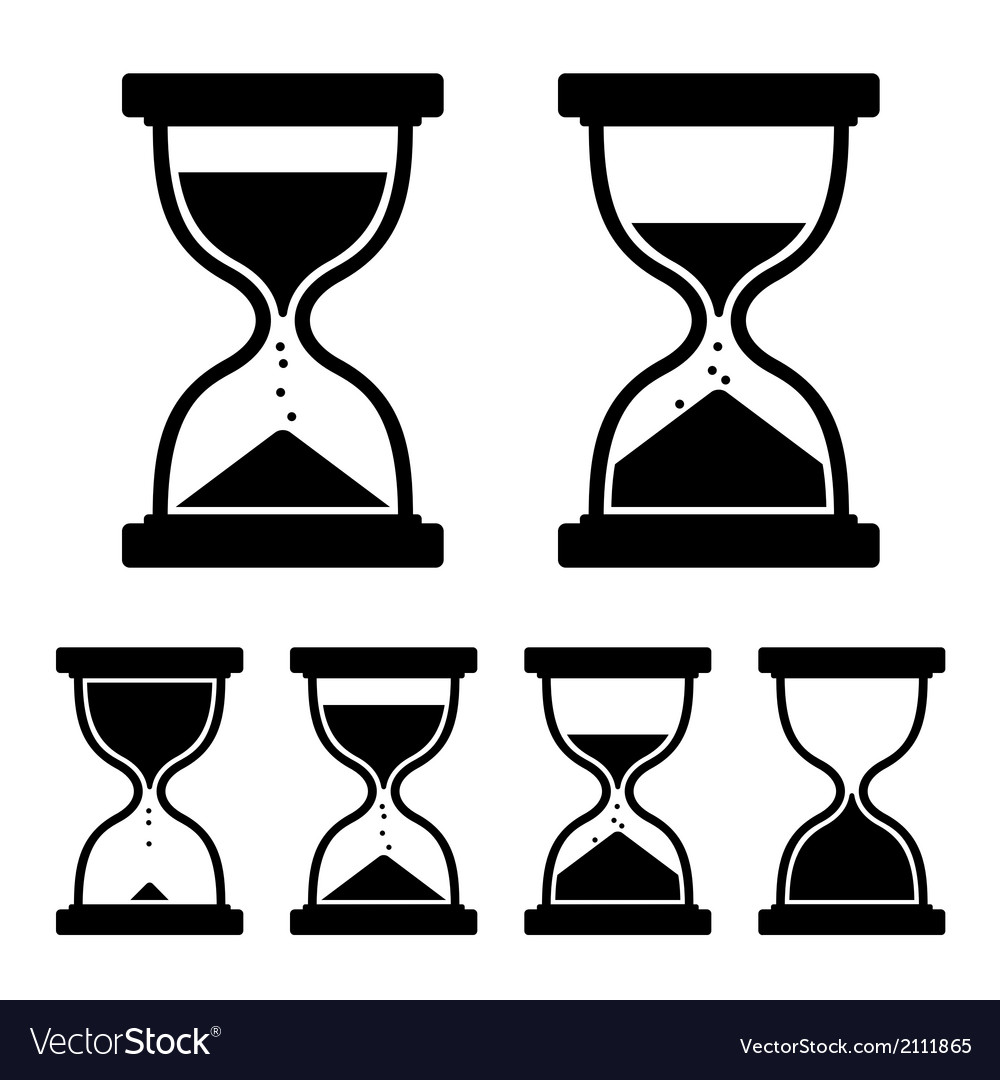 Sand glass clock icons set vector | Price: 1 Credit (USD $1)