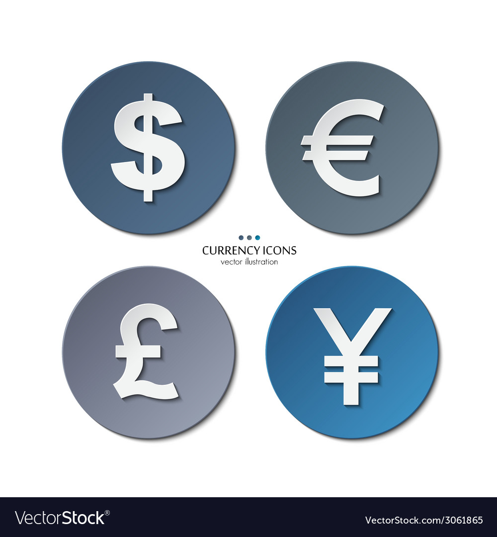 Set of currency icons dollar euro pound yen vector | Price: 1 Credit (USD $1)