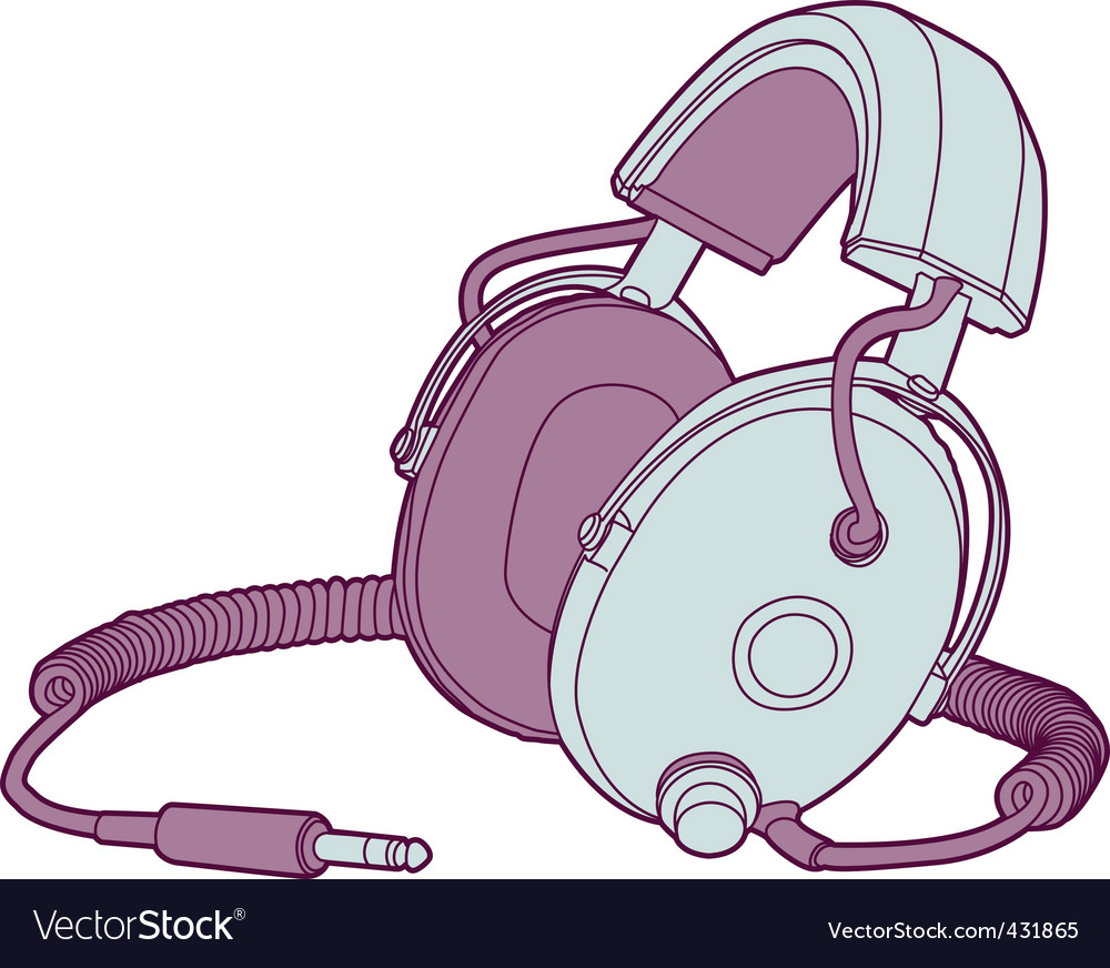 Vintage headphones vector | Price: 1 Credit (USD $1)