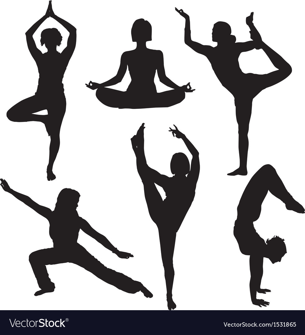 Yoga silhouette vector | Price: 1 Credit (USD $1)