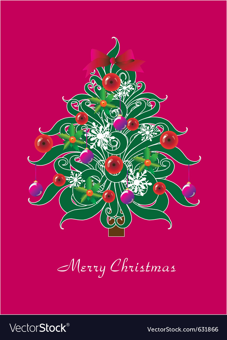 Beautiful christmas tree  christmas card vector | Price: 1 Credit (USD $1)