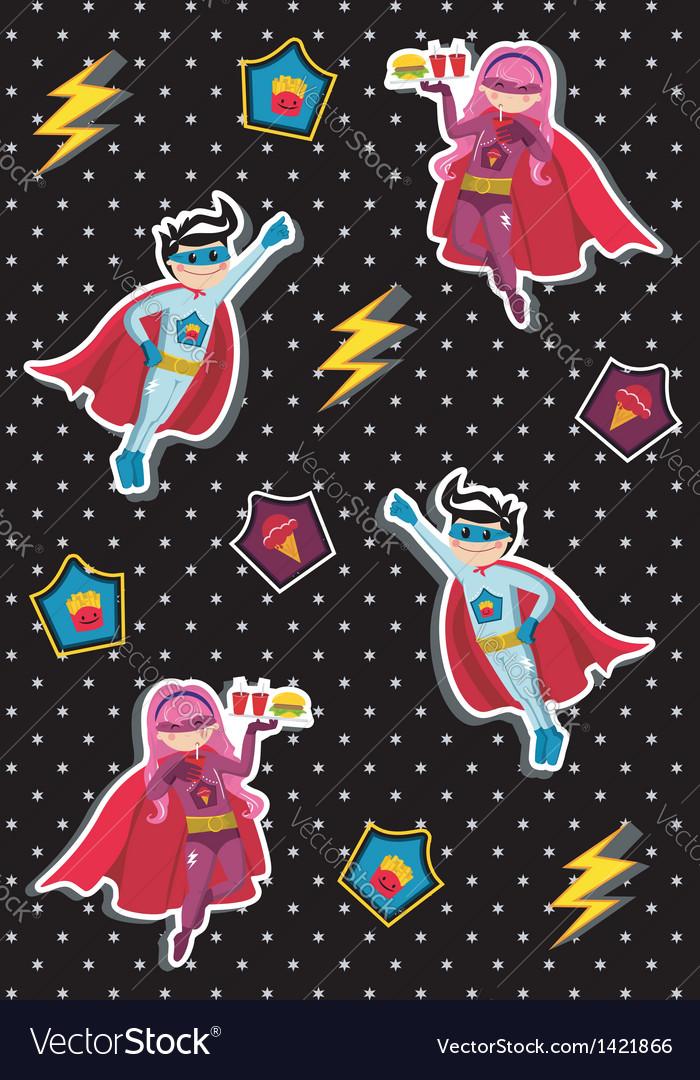 Cartoons superhero kids pattern vector | Price: 1 Credit (USD $1)