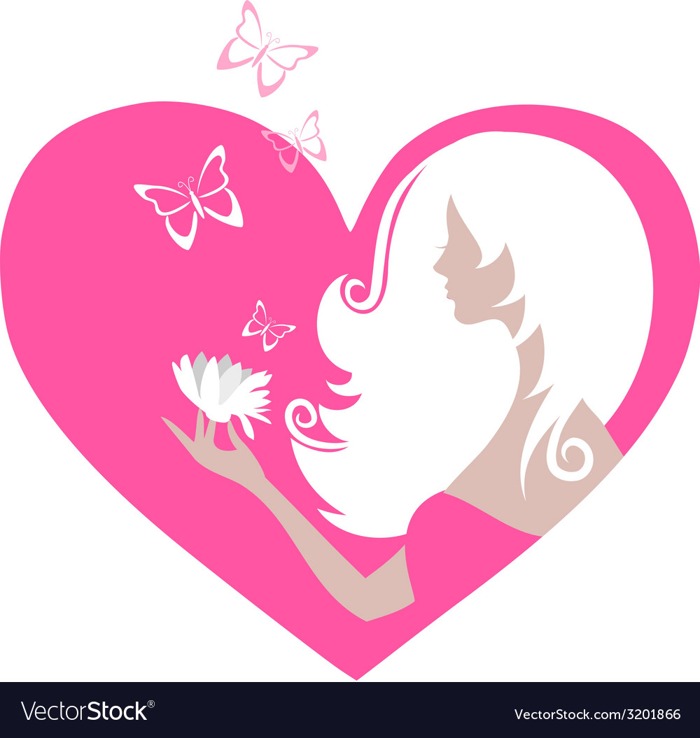 Cute girl with butterflies and a flower in a heart vector | Price: 1 Credit (USD $1)