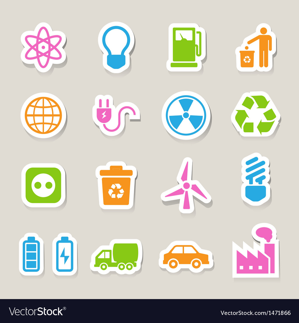 Eco energy icons set eps10 vector | Price: 1 Credit (USD $1)