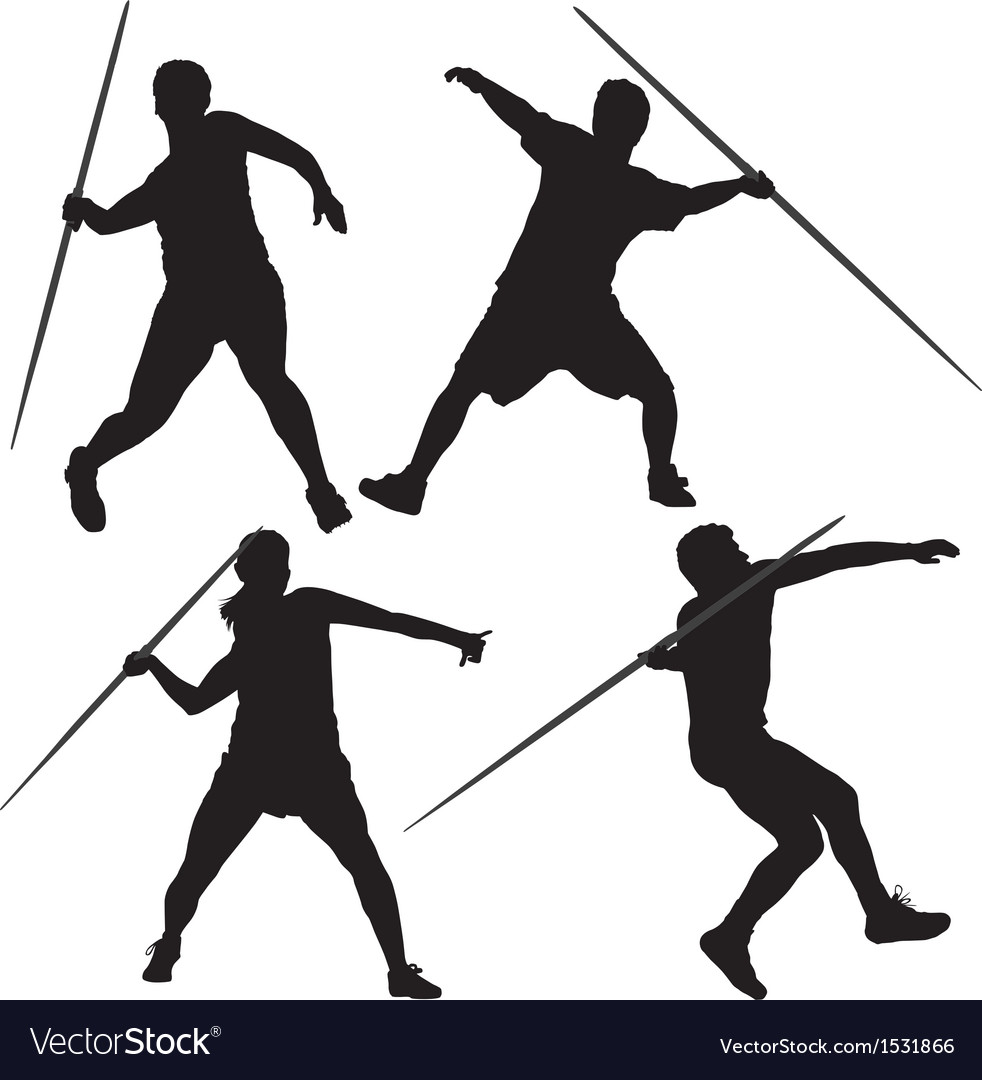 Javelin thrower silhouette vector | Price: 1 Credit (USD $1)