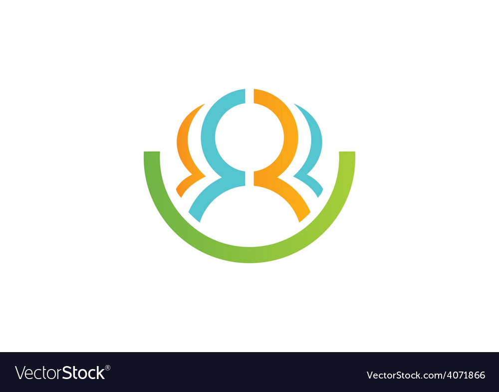 Leadership people abstract group logo vector