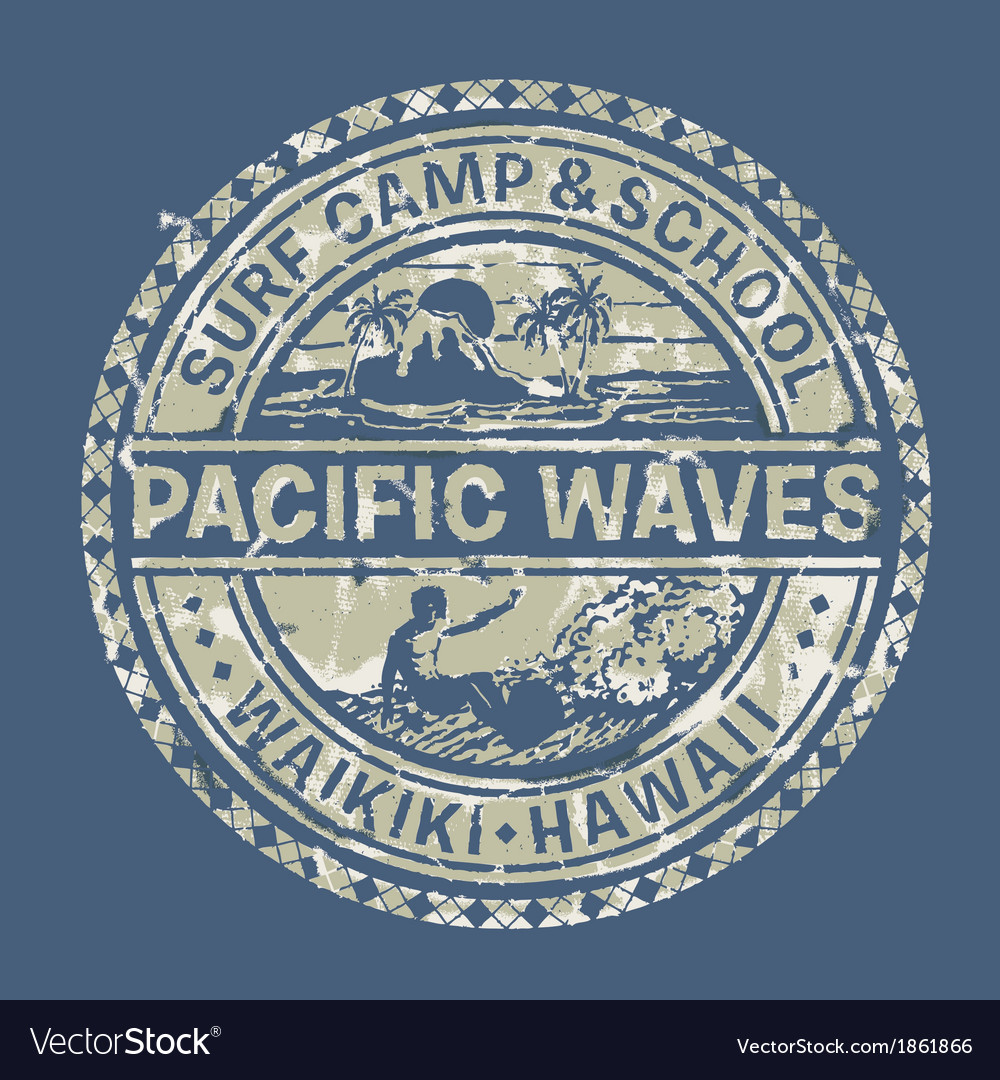 Pacific waves surf camp vector | Price: 1 Credit (USD $1)