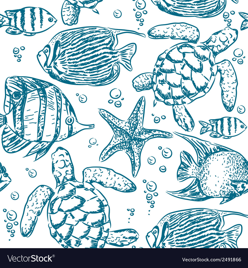 Seamless pattern of fish vector | Price: 1 Credit (USD $1)