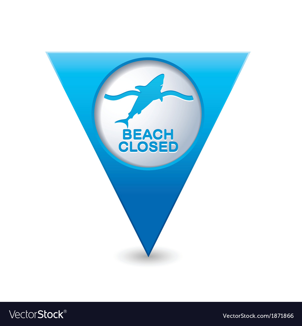 Shark icon map pointer blue vector | Price: 1 Credit (USD $1)