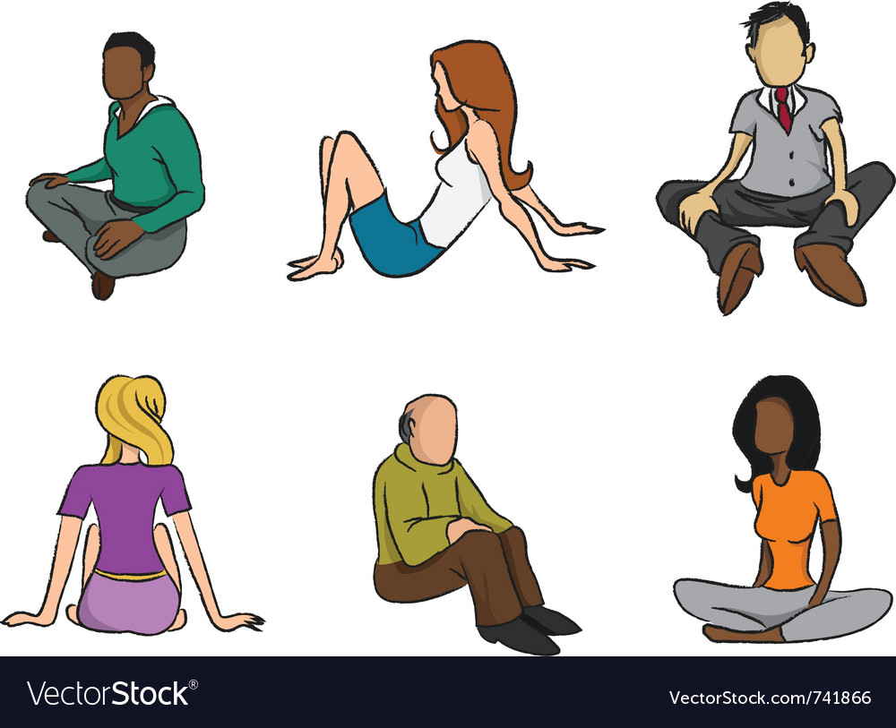 Sitting people vector | Price: 3 Credit (USD $3)