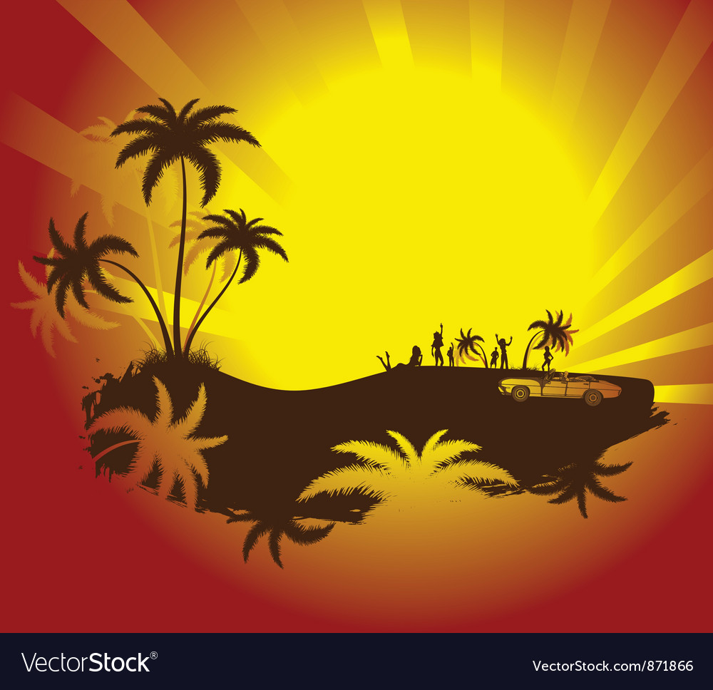 Summer background with palm trees vector   Price: 1 Credit (USD $1)