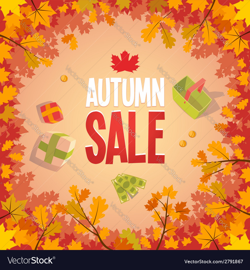 Autumn sale advertising poster vector | Price: 1 Credit (USD $1)