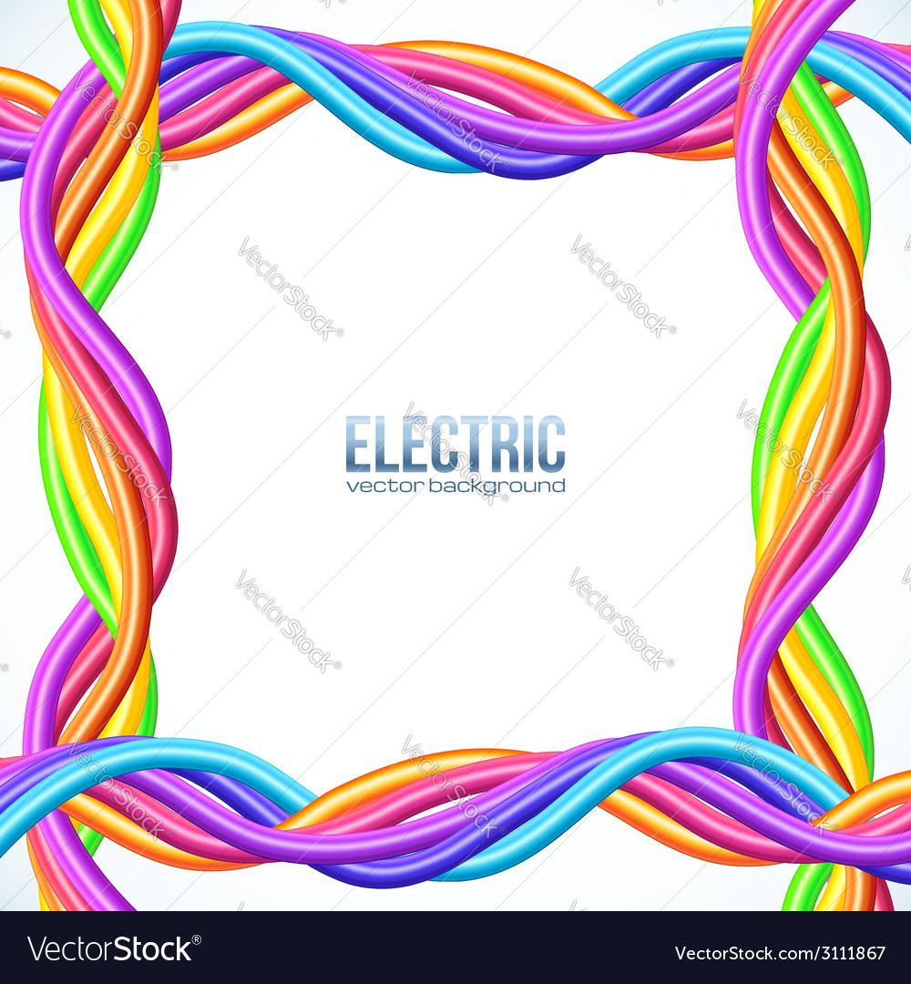 Colorful plastic twisted cables frame vector | Price: 1 Credit (USD $1)