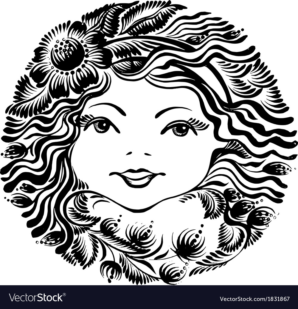 Decorative floral silhouette of a woman face vector | Price: 1 Credit (USD $1)