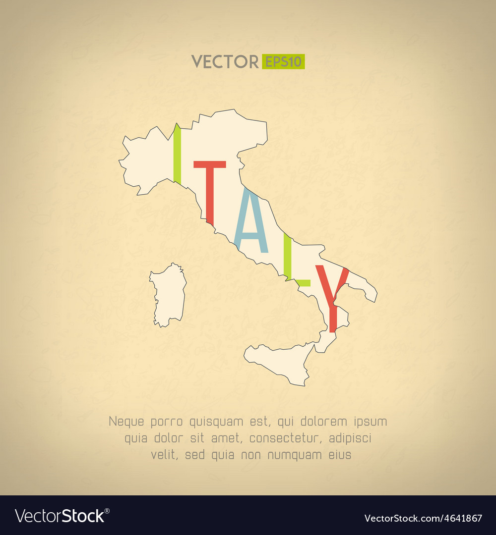 Italy map in vintage design italian border vector | Price: 1 Credit (USD $1)