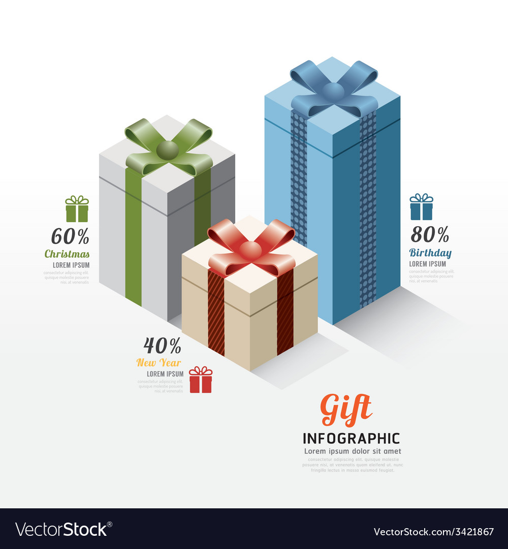 Modern gift box infographics elements design vector | Price: 1 Credit (USD $1)