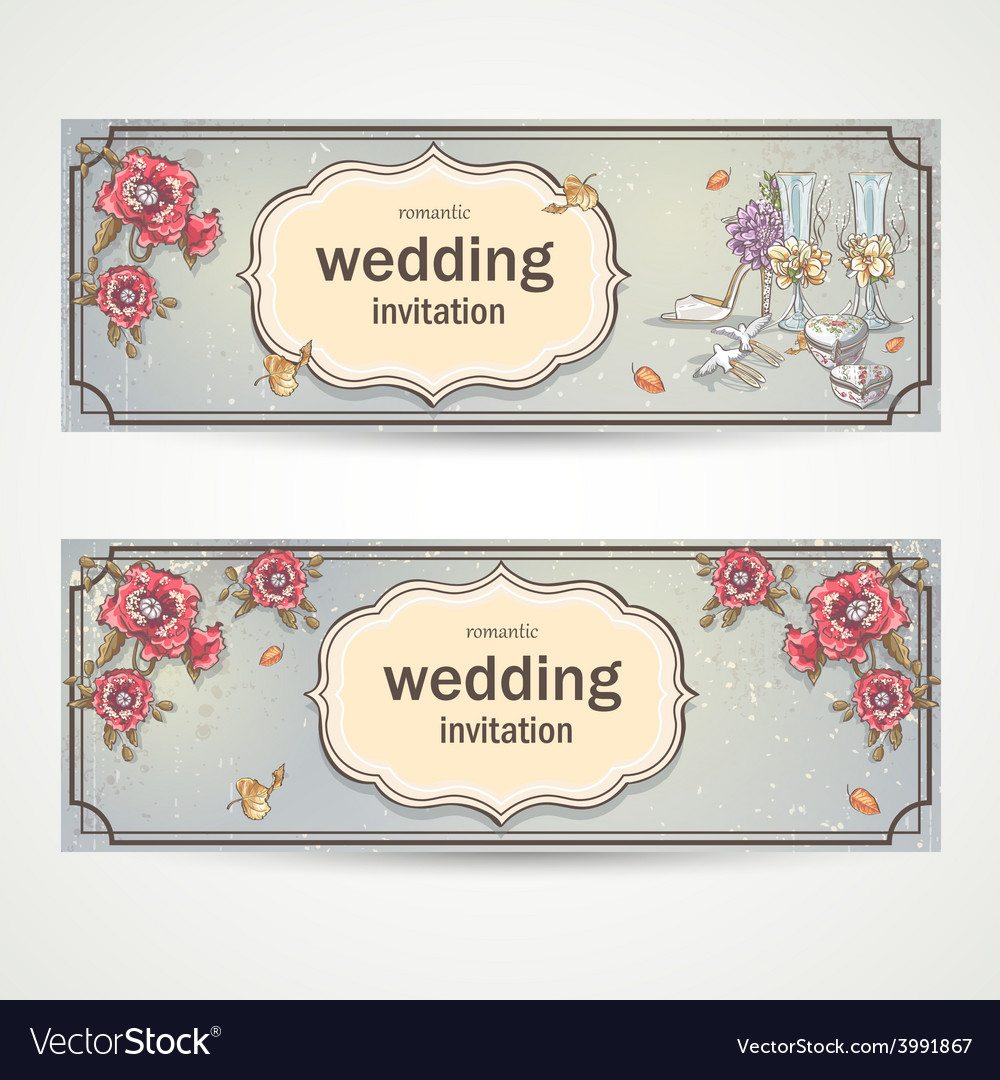 Set of horizontal banners wedding invitations with vector | Price: 1 Credit (USD $1)