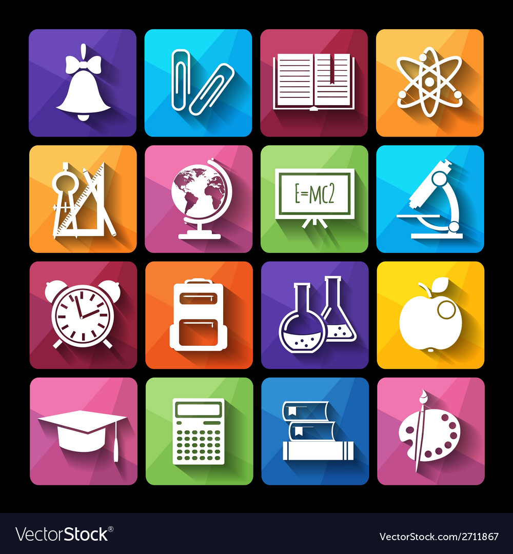 Set of icons educationflat style vector | Price: 1 Credit (USD $1)